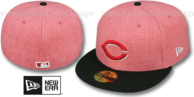 Reds '2T-HEATHER' Red-Black Fitted Hat by New Era : pictured without stickers that these products are shipped with