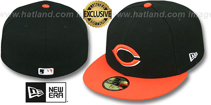Reds '2T OPPOSITE-TEAM' Black-Orange Fitted Hat by New Era : pictured without stickers that these products are shipped with