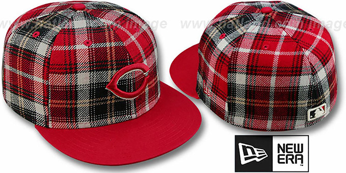Reds '2T PLAIDZ' Red Fitted Hat by New Era : pictured without stickers that these products are shipped with