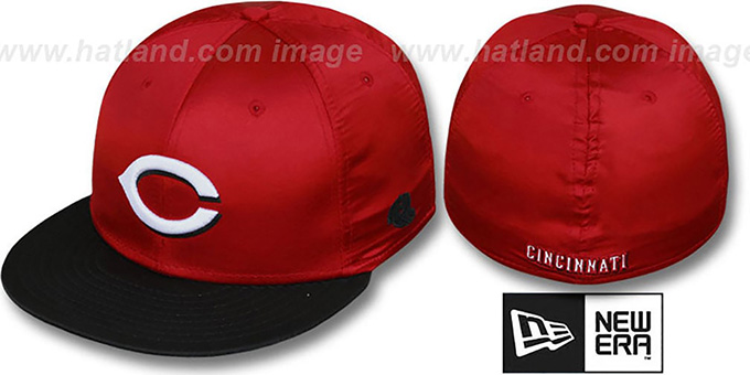 Reds '2T SATIN CLASSIC' Red-Black Fitted Hat by New Era : pictured without stickers that these products are shipped with