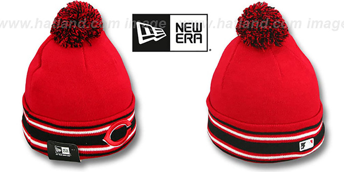 Reds 'AC-ONFIELD' Red Knit Beanie Hat by New Era : pictured without stickers that these products are shipped with
