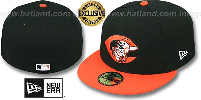 Reds ALT '2T OPPOSITE-TEAM' Black-Orange Fitted Hat by New Era : pictured without stickers that these products are shipped with