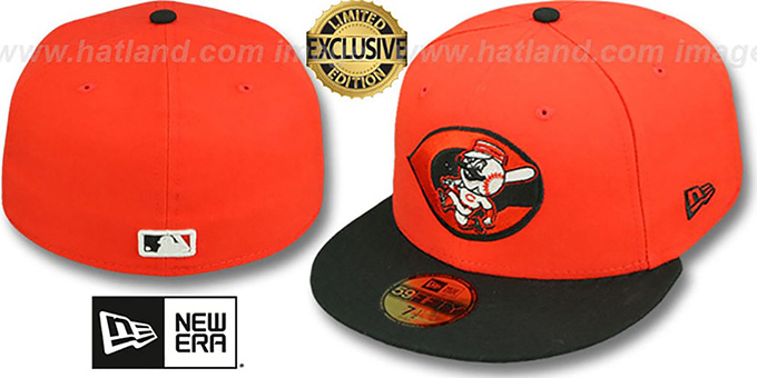 Reds ALT '2T OPPOSITE-TEAM' Orange-Black Fitted Hat by New Era : pictured without stickers that these products are shipped with