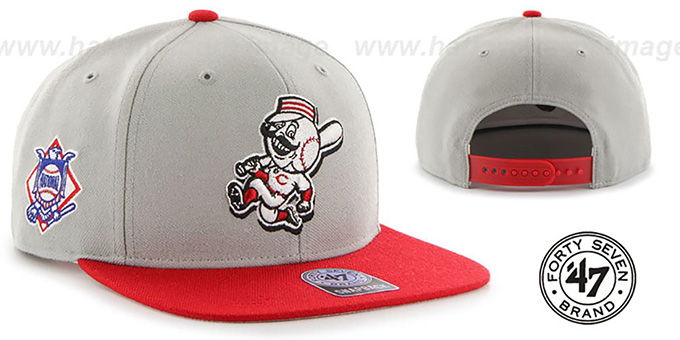 Reds 'ALT SURE-SHOT SNAPBACK' Grey Red Hat by Twins 47 Brand : pictured without stickers that these products are shipped with