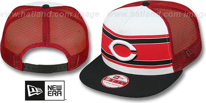 Reds 'BAND-SLAP SNAPBACK' Hat by New Era : pictured without stickers that these products are shipped with