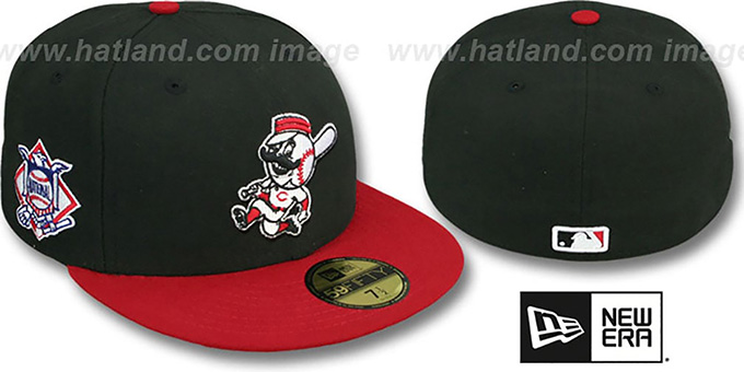 Reds 'BAYCIK' ALT Black-Red Fitted Hat by New Era : pictured without stickers that these products are shipped with
