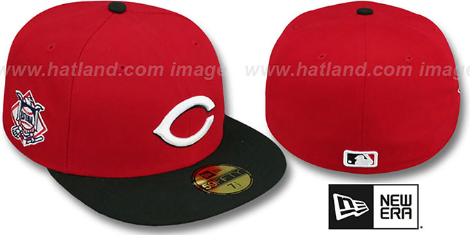 Reds 'BAYCIK' Red-Black Fitted Hat by New Era : pictured without stickers that these products are shipped with