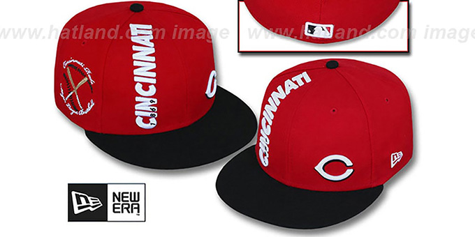 Reds 'BEELINE' Red-Black Fitted Hat by New Era : pictured without stickers that these products are shipped with