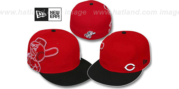 Reds 'BIG-STITCH' Red-Black Fitted Hat by New Era : pictured without stickers that these products are shipped with