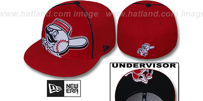 Reds 'BIG-UNDER' Red Fitted Hat by New Era : pictured without stickers that these products are shipped with