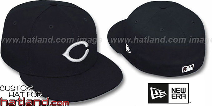 Reds Black-White '59FIFTY' Fitted Hat by New Era : pictured without stickers that these products are shipped with