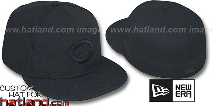 Reds 'BLACKOUT' Fitted Hat by New Era : pictured without stickers that these products are shipped with