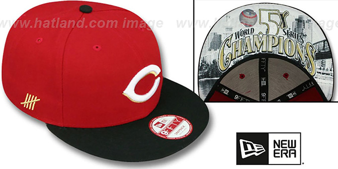 Reds 'CHAMPS-HASH SNAPBACK' Red-Black Hat by New Era : pictured without stickers that these products are shipped with