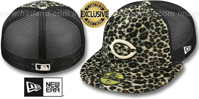 Reds CHEETAH 'ANIMAL-FUR MESH-BACK' Fitted Hat by New Era : pictured without stickers that these products are shipped with
