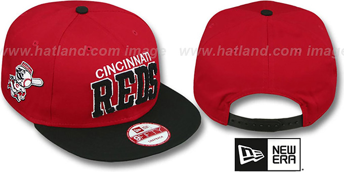 Reds 'CHENILLE-ARCH SNAPBACK' Red-Black Hat by New Era : pictured without stickers that these products are shipped with