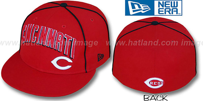Reds 'CITY-FLAWLESS' Red Fitted Hat by New Era : pictured without stickers that these products are shipped with