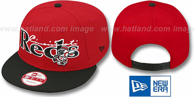 Reds 'CLASSIC-TAG SNAPBACK' Red-Black Adjustable Hat by New Era : pictured without stickers that these products are shipped with