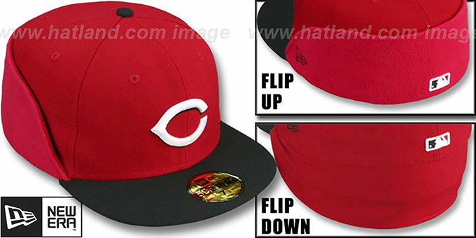 Reds 'CLEAN CUT FLIP-DOWN' Red-Black Fitted Hat by New Era : pictured without stickers that these products are shipped with