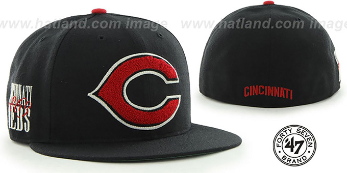 Reds COOP 'CATERPILLAR' Black Fitted Hat by 47 Brand : pictured without stickers that these products are shipped with