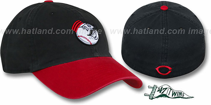 Reds COOP 'FRANCHISE' Black-Red Hat by Twins 47 : pictured without stickers that these products are shipped with