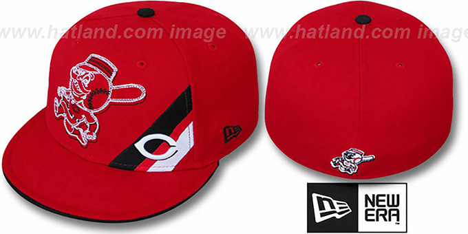 Reds 'CORNER SLICE' Red Fitted Hat by New Era : pictured without stickers that these products are shipped with