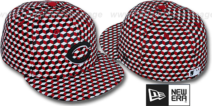 Reds 'CUE-BERT' Red-Black-White Fitted Hat by New Era : pictured without stickers that these products are shipped with