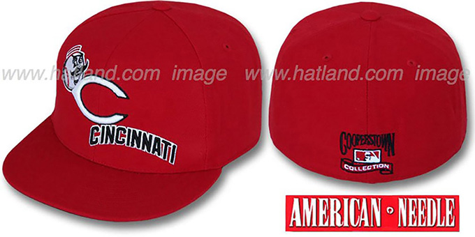 Reds 'DAY CAMP' Red Fitted Hat by American Needle : pictured without stickers that these products are shipped with