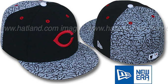 Reds 'DEEP DISH CEMENT' Fitted Hat by New Era : pictured without stickers that these products are shipped with