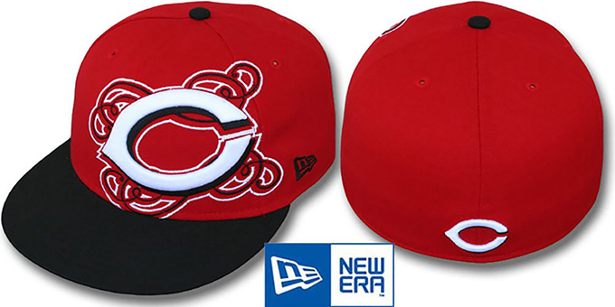 Reds 'DUBCHA' Red-Black Fitted Hat by New Era : pictured without stickers that these products are shipped with