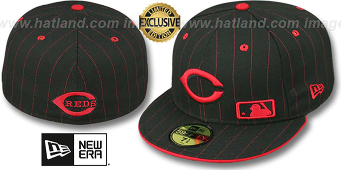 Reds 'FABULOUS' Black-Red Fitted Hat by New Era : pictured without stickers that these products are shipped with