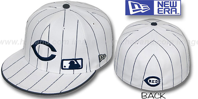 Reds 'FABULOUS' White-Navy Fitted Hat by New Era : pictured without stickers that these products are shipped with