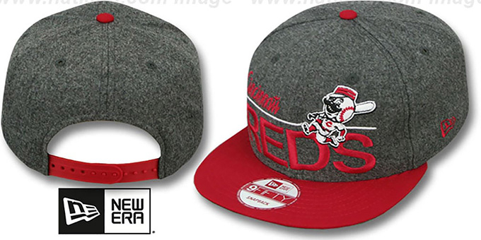 Reds 'FLANNEL SNAPBACK' Grey-Red Hat by New Era : pictured without stickers that these products are shipped with