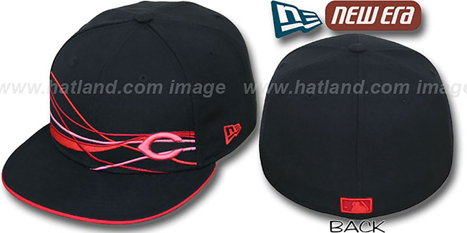 Reds 'FLAWLESS JETSTREAM' Black-Red Fitted Hat by New Era : pictured without stickers that these products are shipped with