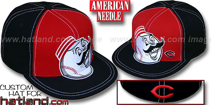 Reds 'GETTIN BIG' Red-Black Fitted Hat by American Needle : pictured without stickers that these products are shipped with