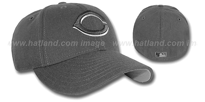 Reds Grey-Grey Fitted Hat : pictured without stickers that these products are shipped with