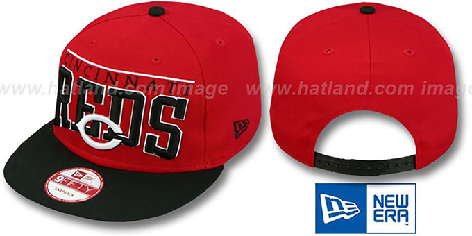 Reds 'LE-ARCH SNAPBACK' Red-Black Hat by New Era : pictured without stickers that these products are shipped with