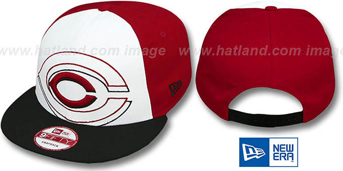 Reds 'LITTLE-BIG POP SNAPBACK' White-Red-Black Hat by New Era : pictured without stickers that these products are shipped with