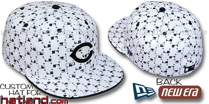 Reds 'MLB FLOCKING' White-Black Fitted Hat by New Era : pictured without stickers that these products are shipped with