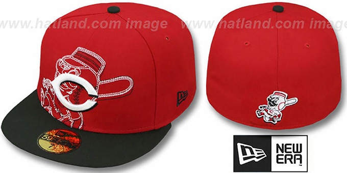 Reds 'NEW MIXIN' Red-Black Fitted Hat by New Era : pictured without stickers that these products are shipped with