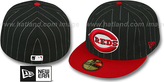 Reds 'PIN-SCRIPT' Black-Red Fitted Hat by New Era : pictured without stickers that these products are shipped with