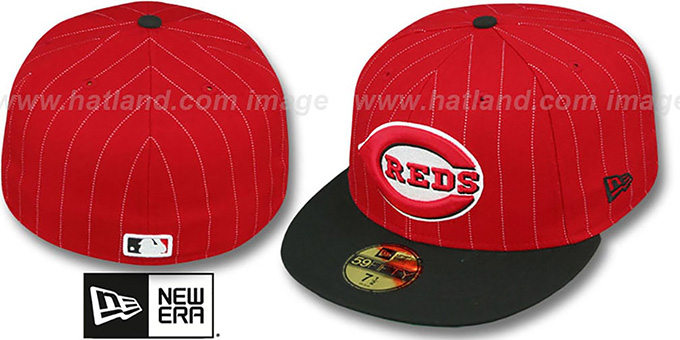 Reds 'PIN-SCRIPT' Red-Black Fitted Hat by New Era : pictured without stickers that these products are shipped with