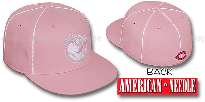 Reds 'PINK CADDY' Fitted Hat by American Needle : pictured without stickers that these products are shipped with