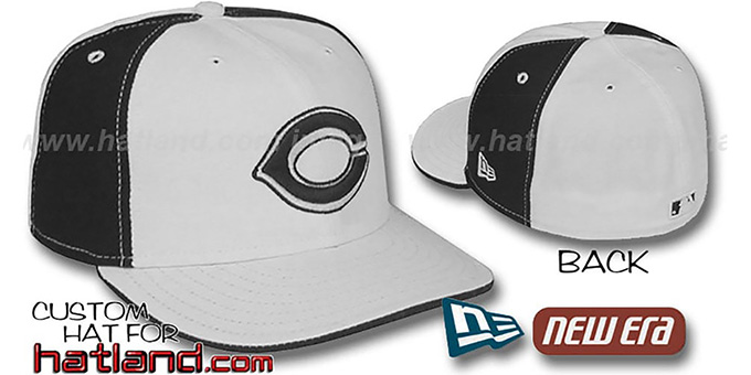Reds 'PINWHEEL' White-Black Fitted Hat by New Era : pictured without stickers that these products are shipped with