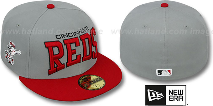 Reds 'PRO-ARCH' Grey-Red Fitted Hat by New Era : pictured without stickers that these products are shipped with