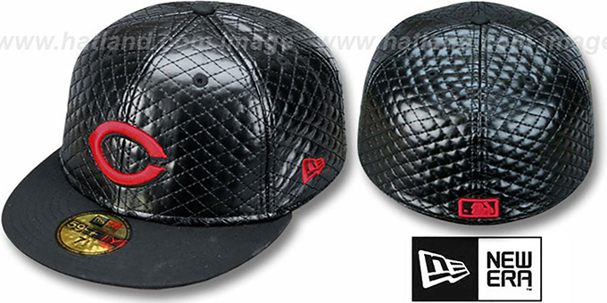Reds 'QUILTE' Black Fitted Hat by New Era : pictured without stickers that these products are shipped with