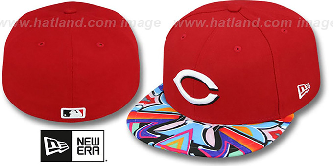 Reds 'REAL GRAFFITI VIZA-PRINT' Red Fitted Hat by New Era : pictured without stickers that these products are shipped with