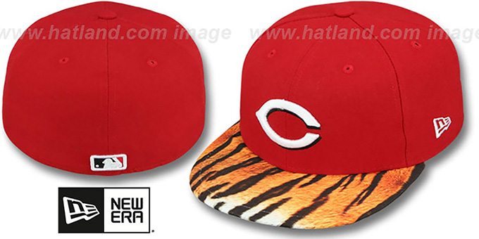 Reds 'REAL TIGER VIZA-PRINT' Red Fitted Hat by New Era : pictured without stickers that these products are shipped with
