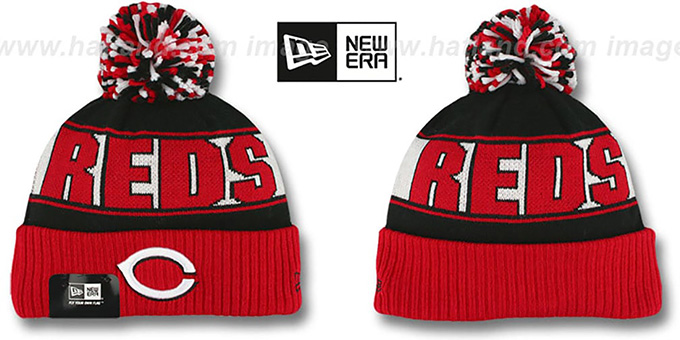 Reds 'REP-UR-TEAM' Knit Beanie Hat by New Era : pictured without stickers that these products are shipped with