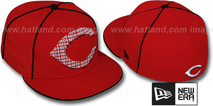 Reds 'REPEAT BIG-ONE' Red Fitted Hat by New Era : pictured without stickers that these products are shipped with
