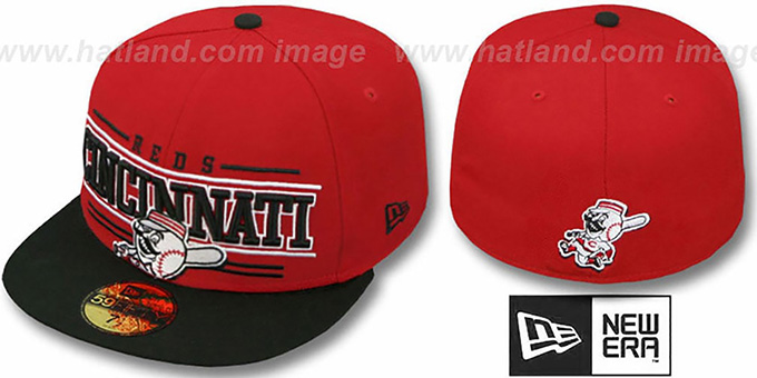 Reds 'RETRO-SMOOTH' Red-Black Fitted Hat by New Era : pictured without stickers that these products are shipped with
